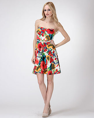 Flower Bouquet Strapless Dress - orangeshine.com