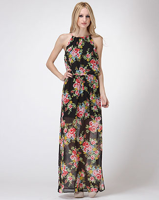 Rose Garden Halter Dress - orangeshine.com