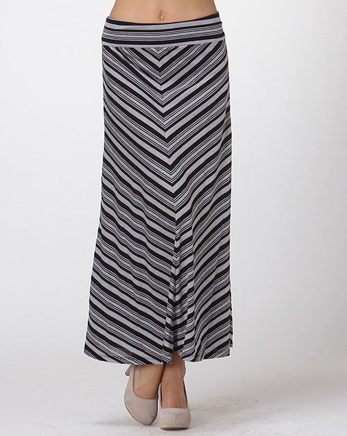 CHEVRON STRIPE MAXI SKIRT - orangeshine.com
