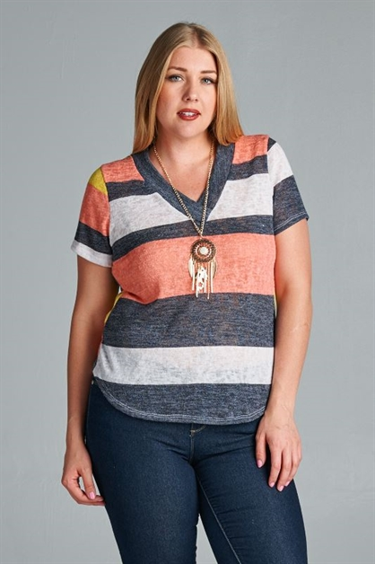 STRIPED KNIT V NECK PLUS TOP - orangeshine.com