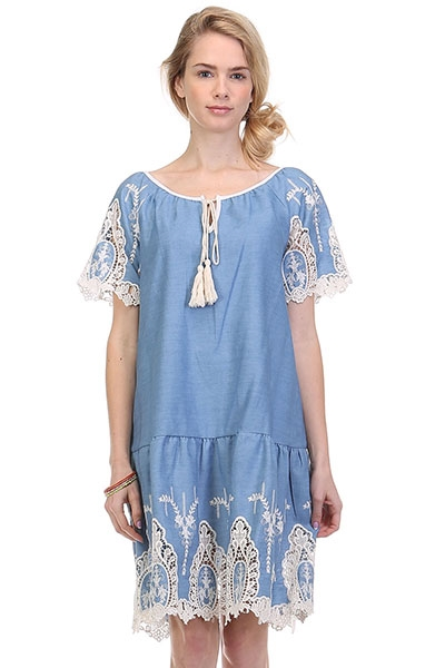 EMBROIDERY DENIM DRESS - orangeshine.com