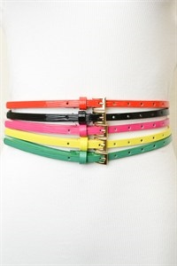 Wave Textured Skinny Belt - orangeshine.com