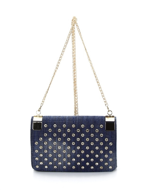 rhinestone denim shoulderbag - orangeshine.com