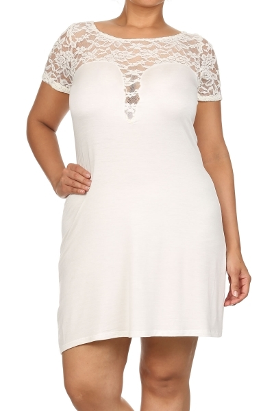 Flare dress with lace detailng - orangeshine.com