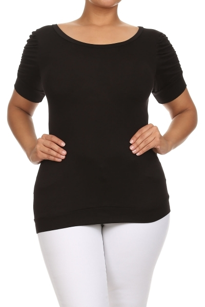 Top with ruched sleeves - orangeshine.com