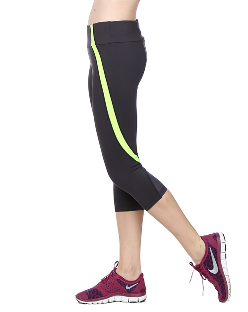 Capri Yoga Pant - Char/Yellow - orangeshine.com