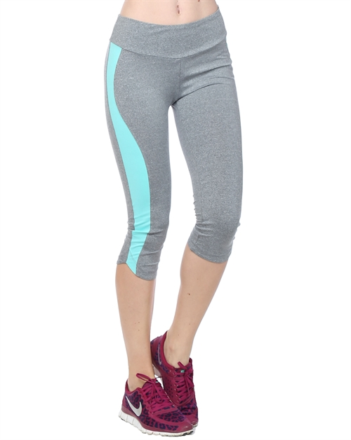 Capri Yoga Pant - Grey/Mint - orangeshine.com