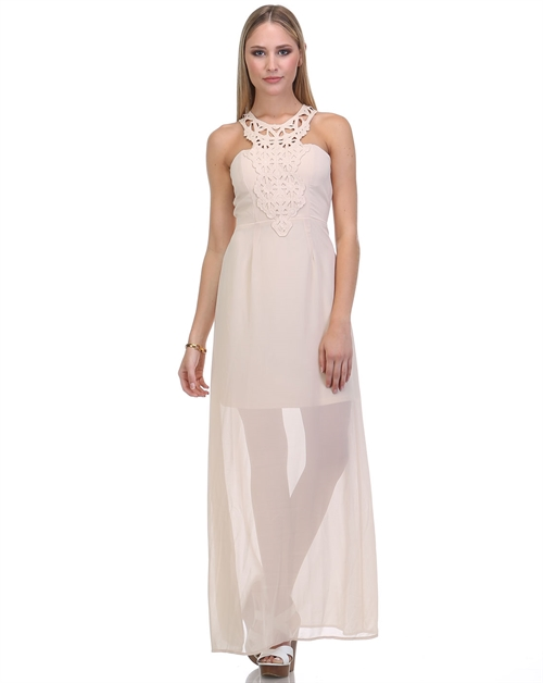 Lace trim long dress - orangeshine.com
