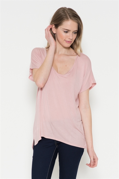 OVERSIZE V NECK BASIC TOP - orangeshine.com