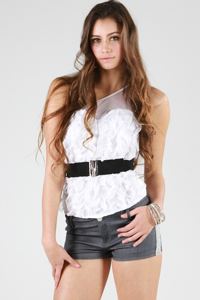 ONE SHOULDER RUFFLE TOP - orangeshine.com