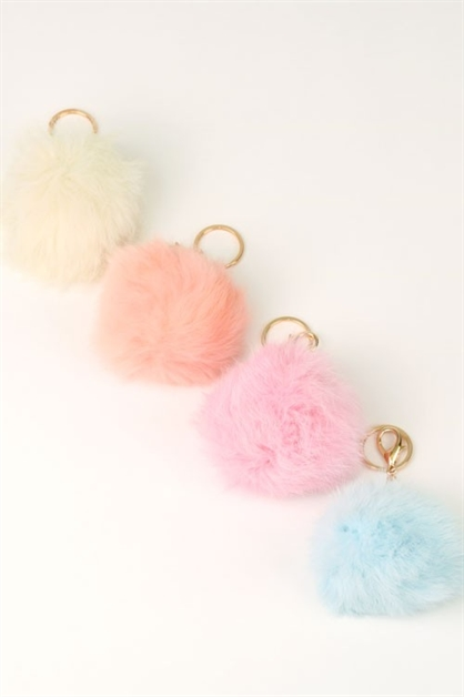 RABBIT FUR POMPOM KEYCHAIN BAG - orangeshine.com