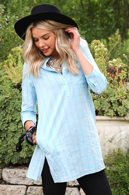 PLAID BUTTON DOWN SHIRTS DRESS - orangeshine.com