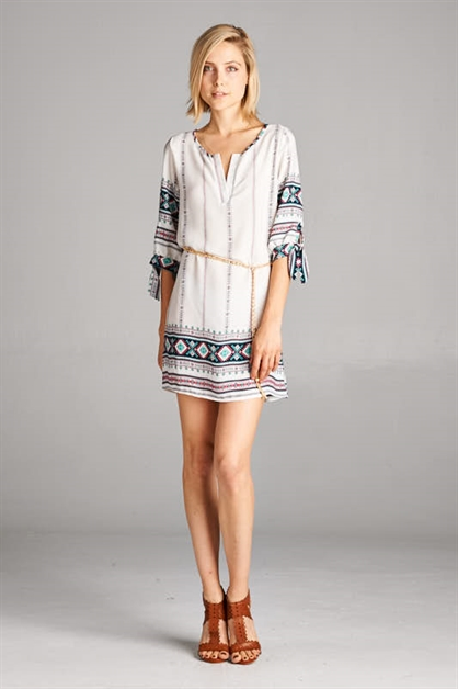 BORDER BELTED TUNIC DRESS - orangeshine.com