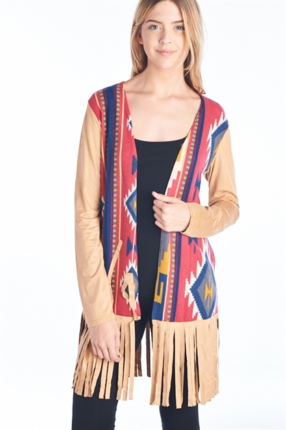 TRIBAL FRINGE CARDIGAN - orangeshine.com