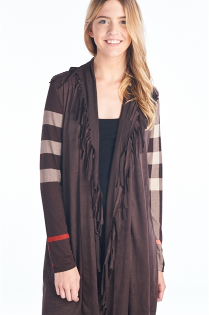 PLAID SLEEVE FRINGE CARDIGAN - orangeshine.com