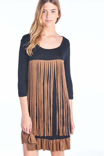 FRINGE 3/4 SLEEVE DRESS - orangeshine.com