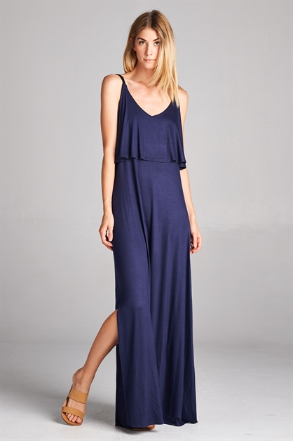 V-neck side slit maxi dress - orangeshine.com