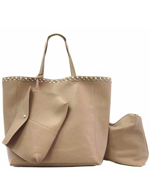 Large Studded 3-pc Tote - orangeshine.com
