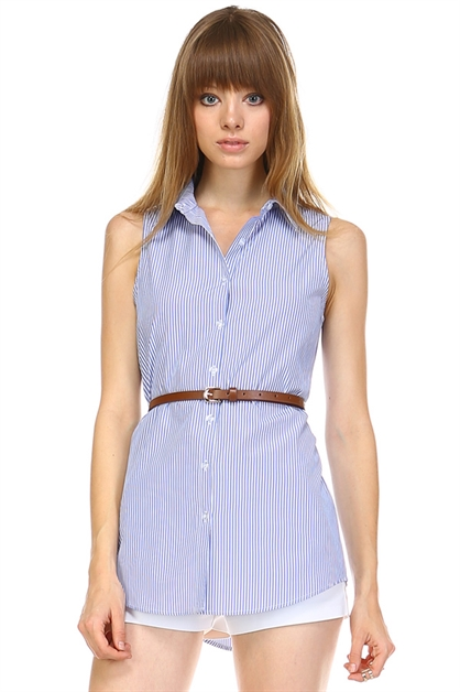 Stripe sleeveless top w/ belt - orangeshine.com