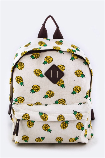 Pineapple Print Fashion Backpa - orangeshine.com
