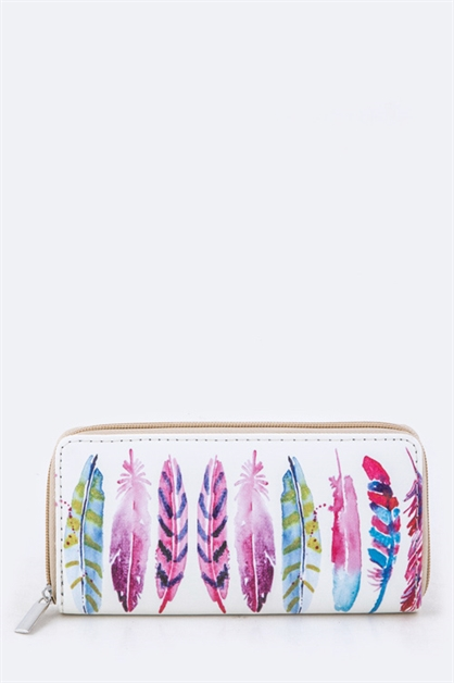 Mix Feather Print Wallet - orangeshine.com