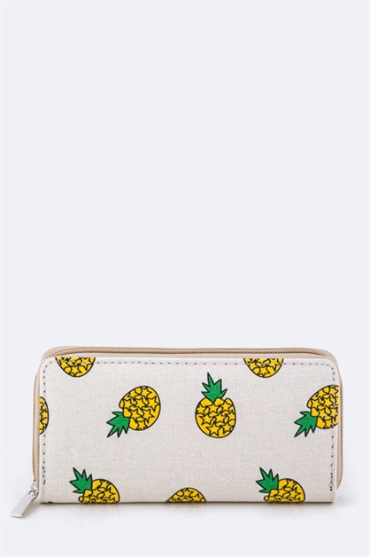 Pineapple Print Canvas Wallet - orangeshine.com