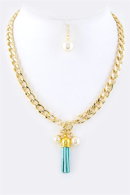 Mini Suede Tassel Necklace Set - orangeshine.com