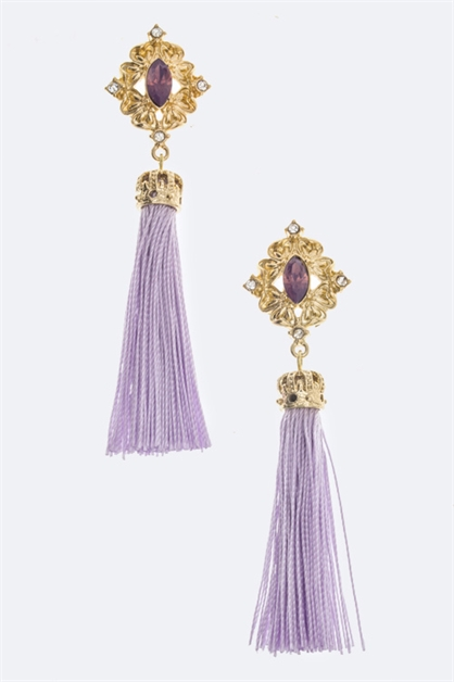 Crystal Crown Tassel Earring - orangeshine.com