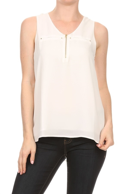 Solid sleeveless zipper top - orangeshine.com