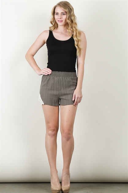 SIDE LACED SOLID SHORT PANTS - orangeshine.com
