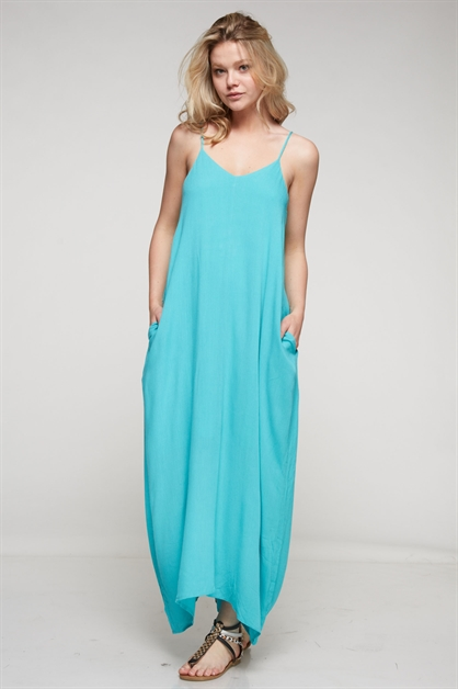 SOLID POCKET MAXI DRESS - orangeshine.com