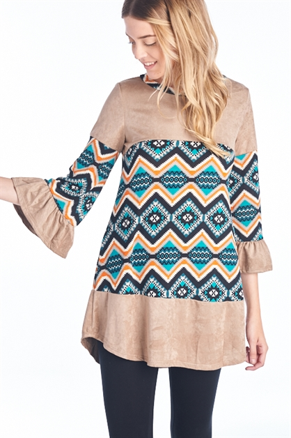 CHEVRON BELL SLEEVE TUNIC - orangeshine.com