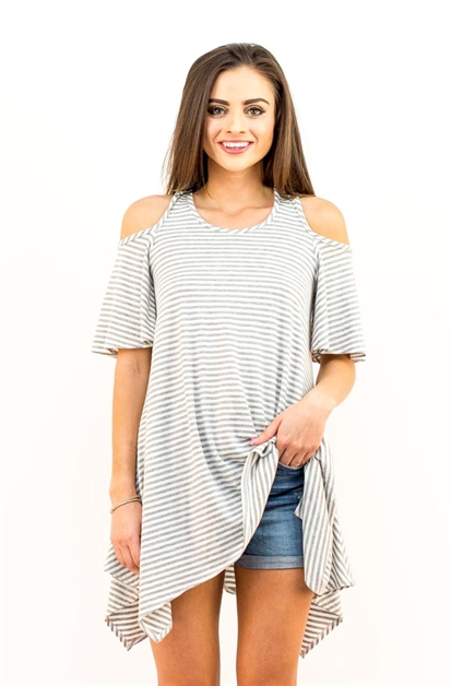 STRIPED COLD SHOULDER KNIT TOP - orangeshine.com