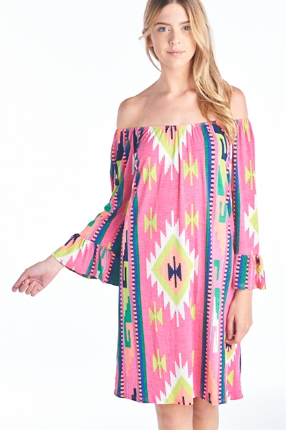 TRIBAL BELL SLEEVE DRESS - orangeshine.com