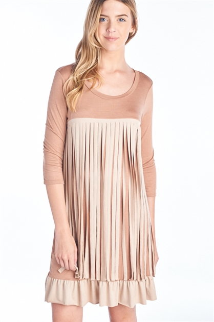 3/4 SLEEVE FRINGE DRESS - orangeshine.com