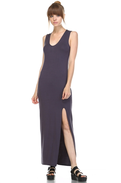 V-NECK MAXI DRESS WITH SLIT - orangeshine.com