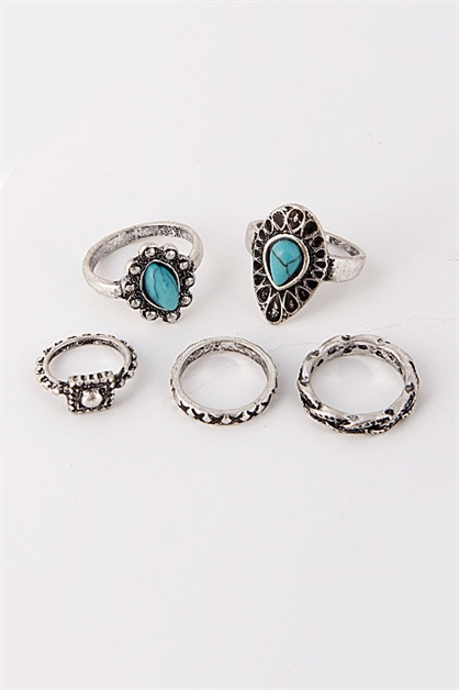 Mixed Antique Stone Ring Set - orangeshine.com