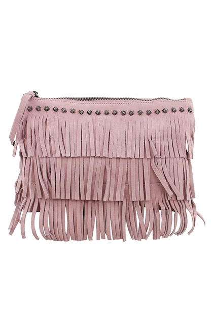 STUDDED CHARM FRINGE SHOULDER BAG - orangeshine.com