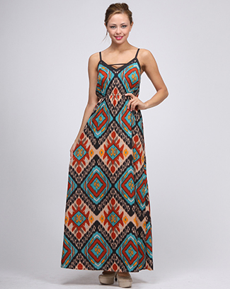 BATICK PRINT MAXI DRESS - orangeshine.com