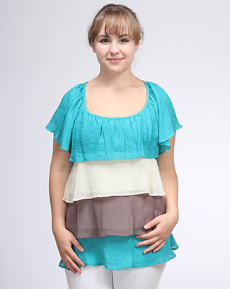 RUFLE COLOR BLOCK TOP - orangeshine.com