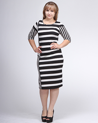 STRIPED PRINT MIDI DRESS - orangeshine.com