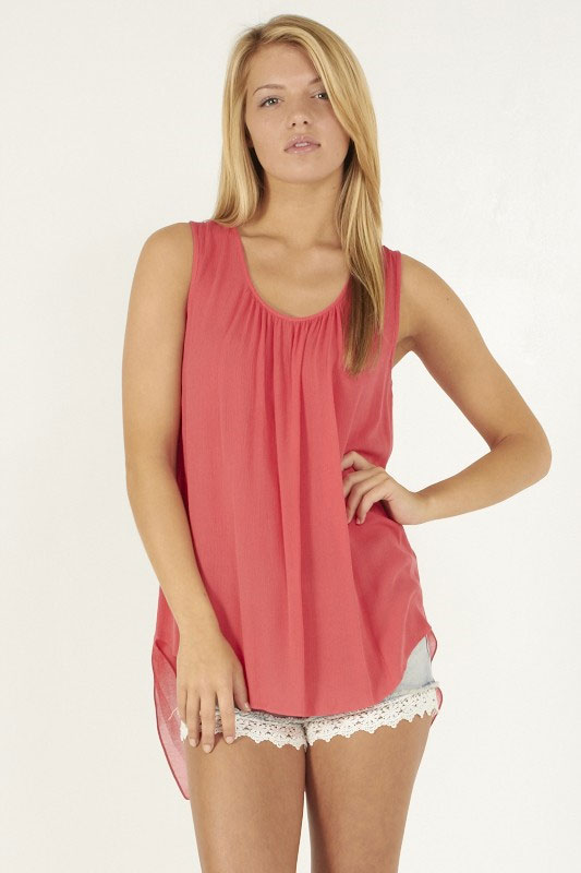 Sleeveless high low top - orangeshine.com