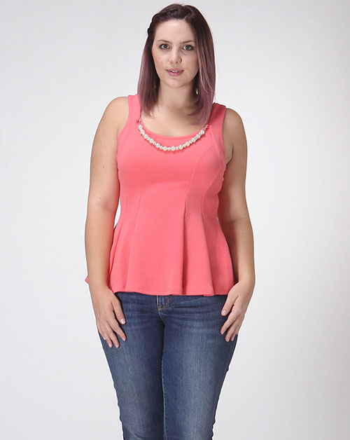 SLEEVELESS TOP W/ NECKLACE - orangeshine.com