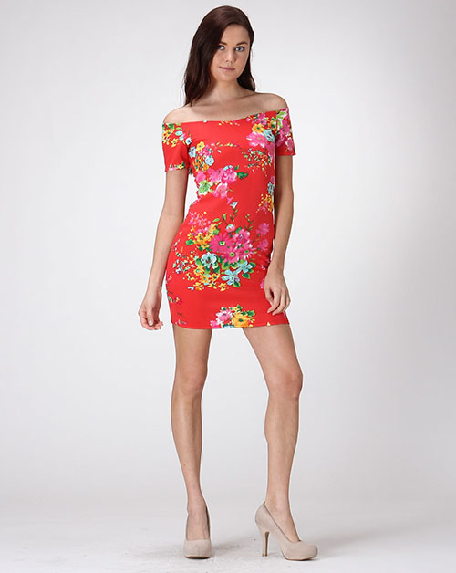 FLORAL BODYCON DRESS - orangeshine.com