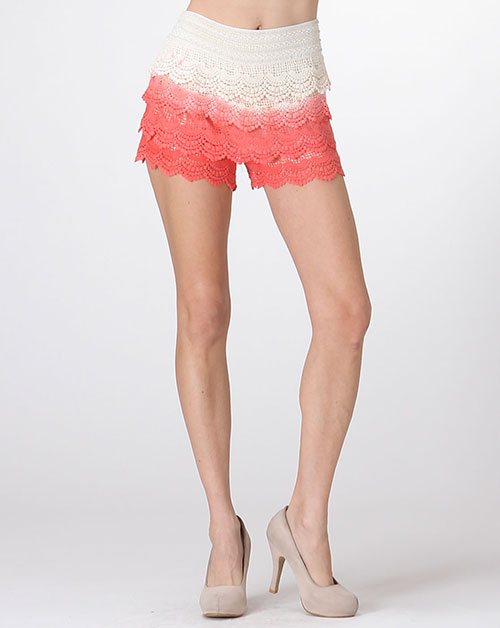 DIP DYE CROCHET LACE SHORTS - orangeshine.com