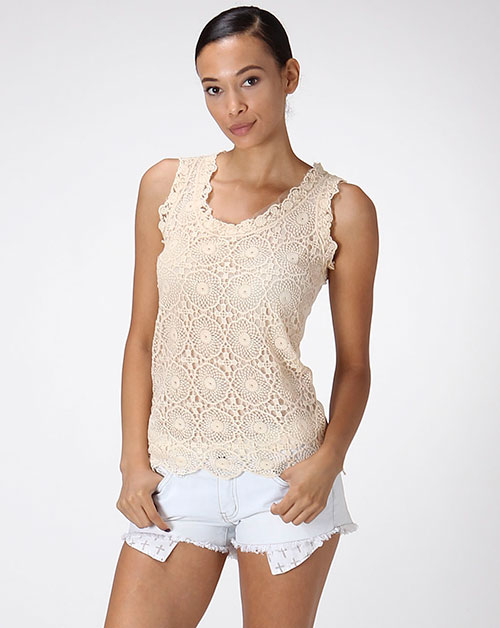 CROCHET OVERLAY SLEEVELESS TOP - orangeshine.com