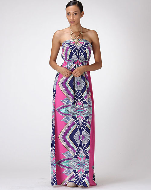 PRINTED MAXI TUBE TOP DRESS - orangeshine.com