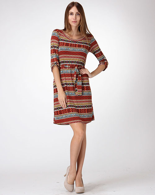 3/4 SLEEVE PRINT TUNIC DRESS - orangeshine.com