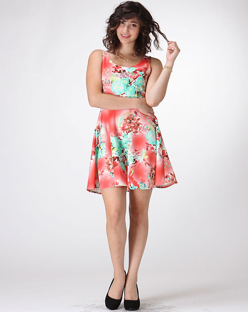 FLORAL SKATER DRESS - orangeshine.com
