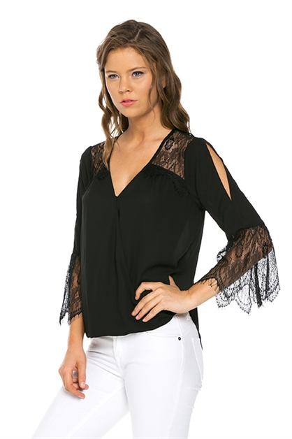 Eyelash Lace-Trimmed Surplice - orangeshine.com